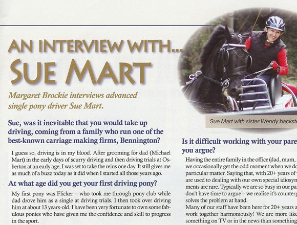 Carriage Driving Interview with Sue Mart - June 2009